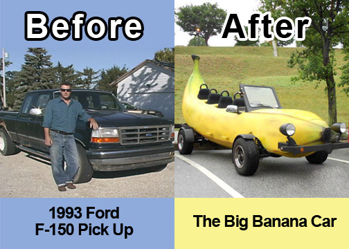 This is a before and after of the <strong>Big Banana Car</strong> showing how it looked as a 1993 Ford F-15- and now as the <strong>Big Banana Car</strong>.