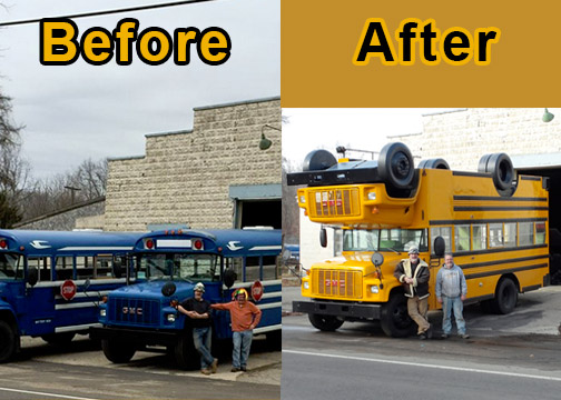 This is a before and after of the <strong>Turvy Topsy bus</strong> in front of the Mutant Brothers workshop in Kalamazoo before work began with Steve Braithwaite and Tom Brown